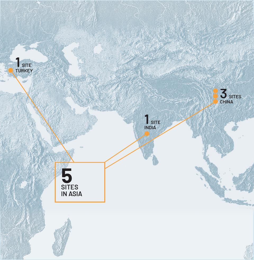 5 sites in Asia