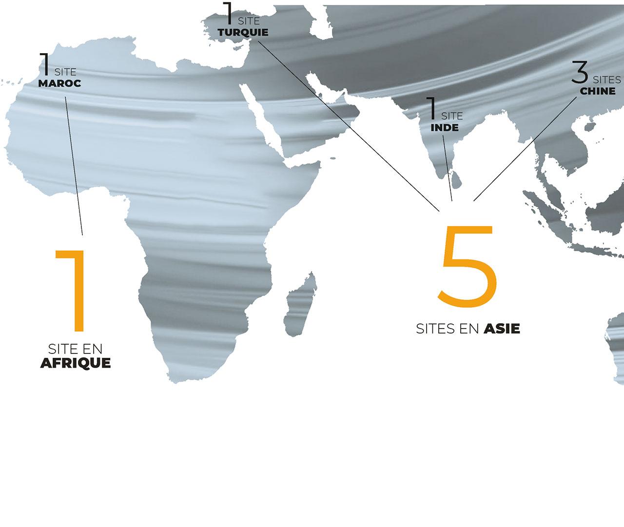 1 site en Afrique, 5 sites en Asie